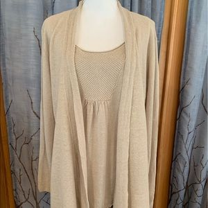 Eileen Fisher XL taupe 2 piece top cardigan linen